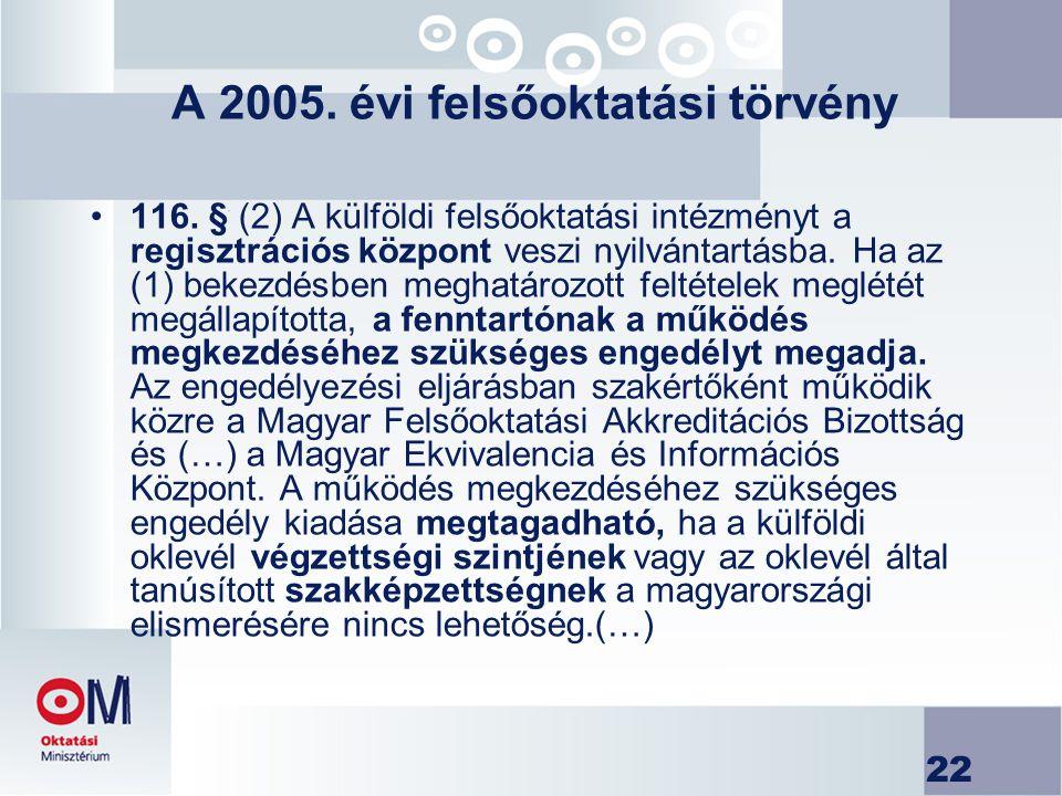 22 A 2005. évi felsőoktatási törvény 116. § (2) A külföldi felsőoktatási intézményt a regisztrációs központ veszi nyilvántartásba. Ha az (1) bekezdésb