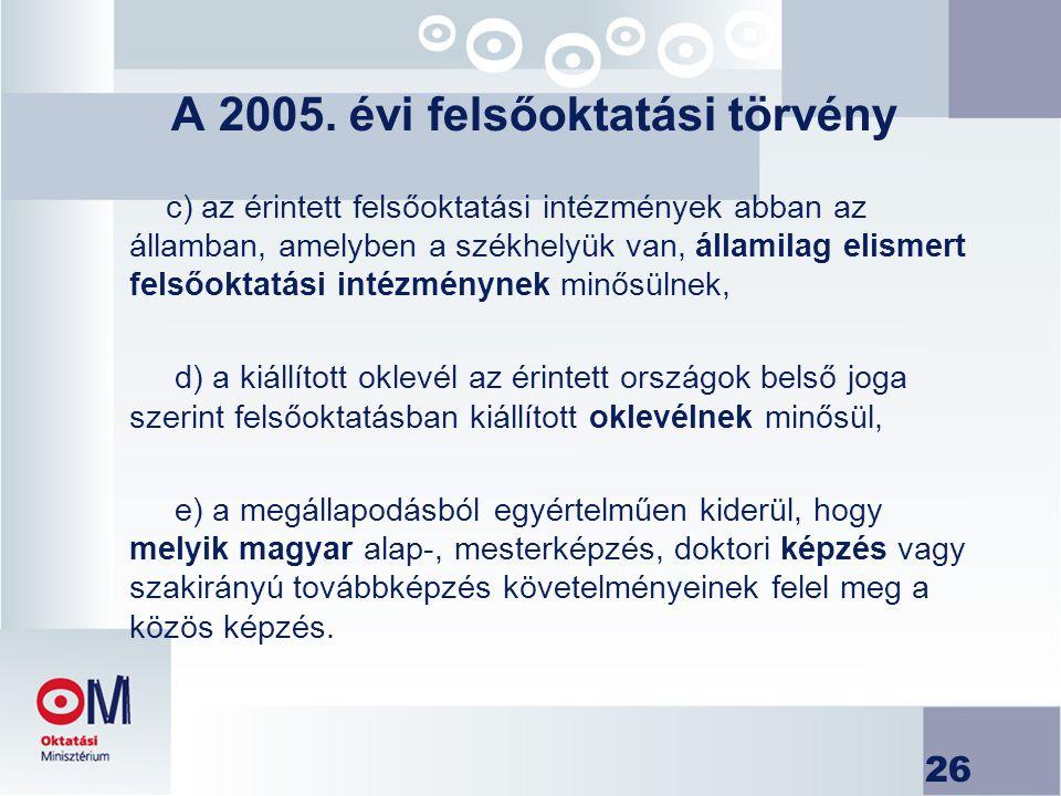 26 A 2005. évi felsőoktatási törvény c) az érintett felsőoktatási intézmények abban az államban, amelyben a székhelyük van, államilag elismert felsőok
