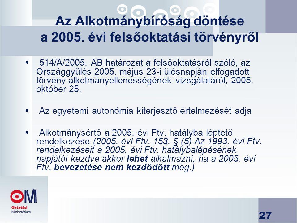 27 Az Alkotmánybíróság döntése a 2005. évi felsőoktatási törvényről  514/A/2005. AB határozat a felsőoktatásról szóló, az Országgyűlés 2005. május 23