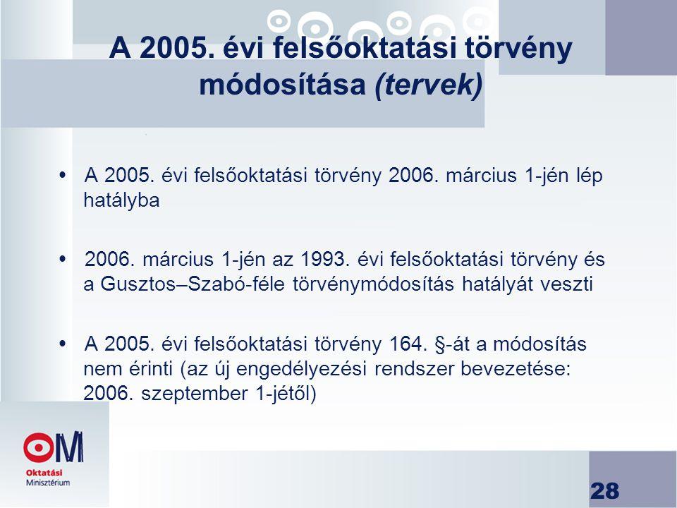 28 A 2005. évi felsőoktatási törvény módosítása (tervek)  A 2005. évi felsőoktatási törvény 2006. március 1-jén lép hatályba  2006. március 1-jén az