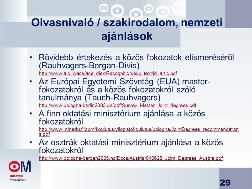 29 Olvasnivaló / szakirodalom, nemzeti ajánlások Rövidebb értekezés a közös fokozatok elismeréséről (Rauhvagers-Bergan-Divis) http://www.aic.lv/ace/ac