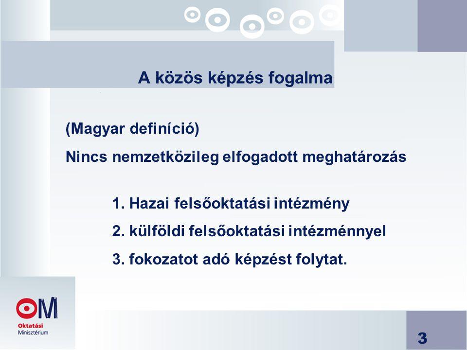 3 A közös képzés fogalma (Magyar definíció) Nincs nemzetközileg elfogadott meghatározás 1. Hazai felsőoktatási intézmény 2. külföldi felsőoktatási int