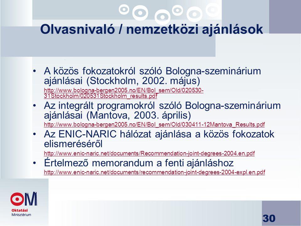 30 Olvasnivaló / nemzetközi ajánlások A közös fokozatokról szóló Bologna-szeminárium ajánlásai (Stockholm, 2002. május) http://www.bologna-bergen2005.