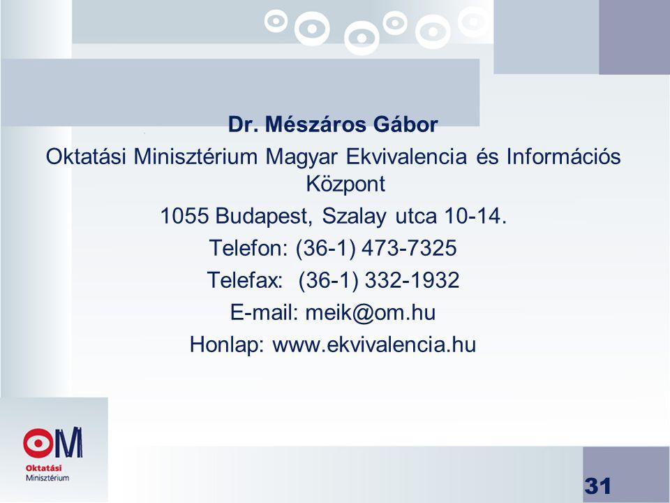 31 Dr. Mészáros Gábor Oktatási Minisztérium Magyar Ekvivalencia és Információs Központ 1055 Budapest, Szalay utca 10-14. Telefon: (36-1) 473-7325 Tele