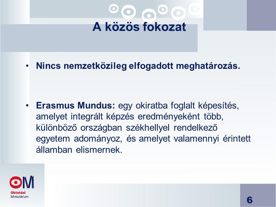 6 A közös fokozat Nincs nemzetközileg elfogadott meghatározás. Erasmus Mundus: egy okiratba foglalt képesítés, amelyet integrált képzés eredményeként