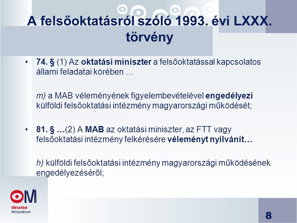 8 A felsőoktatásról szóló 1993. évi LXXX. törvény 74. § (1) Az oktatási miniszter a felsőoktatással kapcsolatos állami feladatai körében … m) a MAB vé