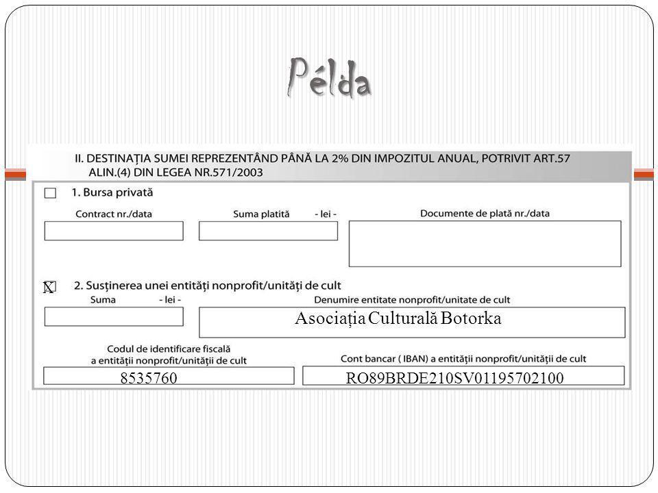 Példa X 8535760 Asociaţia Culturală Botorka RO89BRDE210SV01195702100