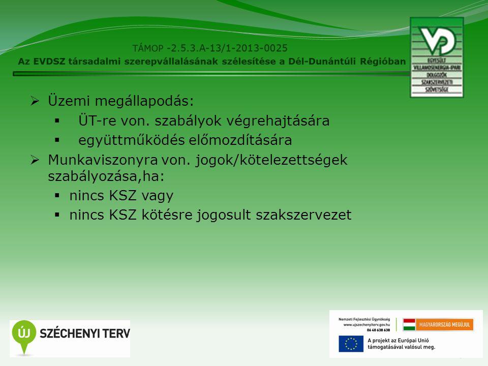 15  Üzemi megállapodás:  ÜT-re von. szabályok végrehajtására  együttműködés előmozdítására  Munkaviszonyra von. jogok/kötelezettségek szabályozása