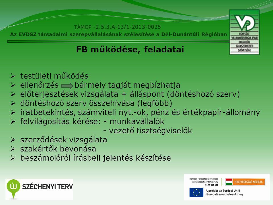 18 FB működése, feladatai  testületi működés  ellenőrzés bármely tagját megbízhatja  előterjesztések vizsgálata + álláspont (döntéshozó szerv)  dö
