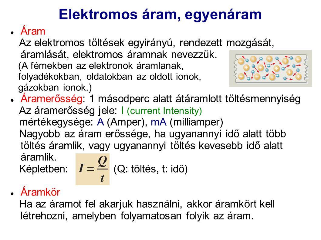 Elektromos áram, egyenáram Áram Az elektromos töltések egyirányú, rendezett mozgását, áramlását, elektromos áramnak nevezzük. (A fémekben az elektrono