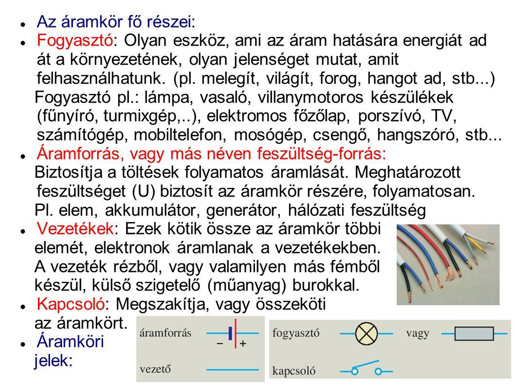 Az áramkör fő részei: Fogyasztó: Olyan eszköz, ami az áram hatására energiát ad át a környezetének, olyan jelenséget mutat, amit felhasználhatunk. (pl