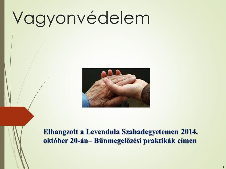 1 Vagyonvédelem Elhangzott a Levendula Szabadegyetemen 2014. október 20-án– Bűnmegelőzési praktikák címen
