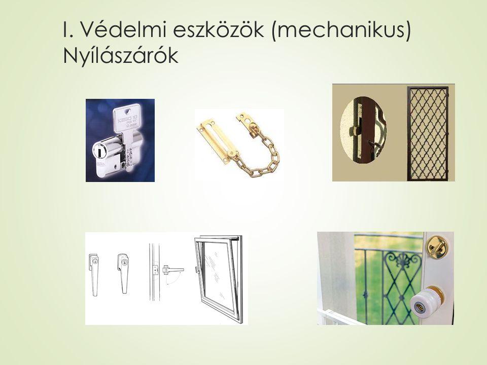 II. Védelmi eszközök (elektronikai) riasztó, kamera, diszpécser szolgálat