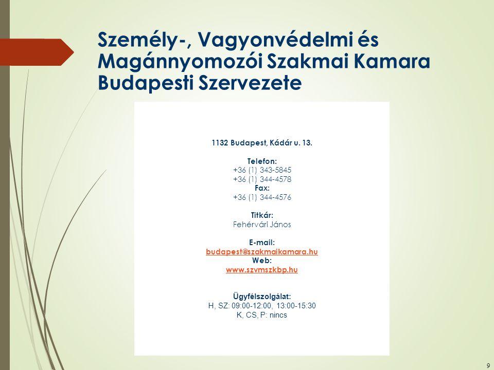 9 Személy-, Vagyonvédelmi és Magánnyomozói Szakmai Kamara Budapesti Szervezete 1132 Budapest, Kádár u. 13. Telefon: +36 (1) 343-5845 +36 (1) 344-4578