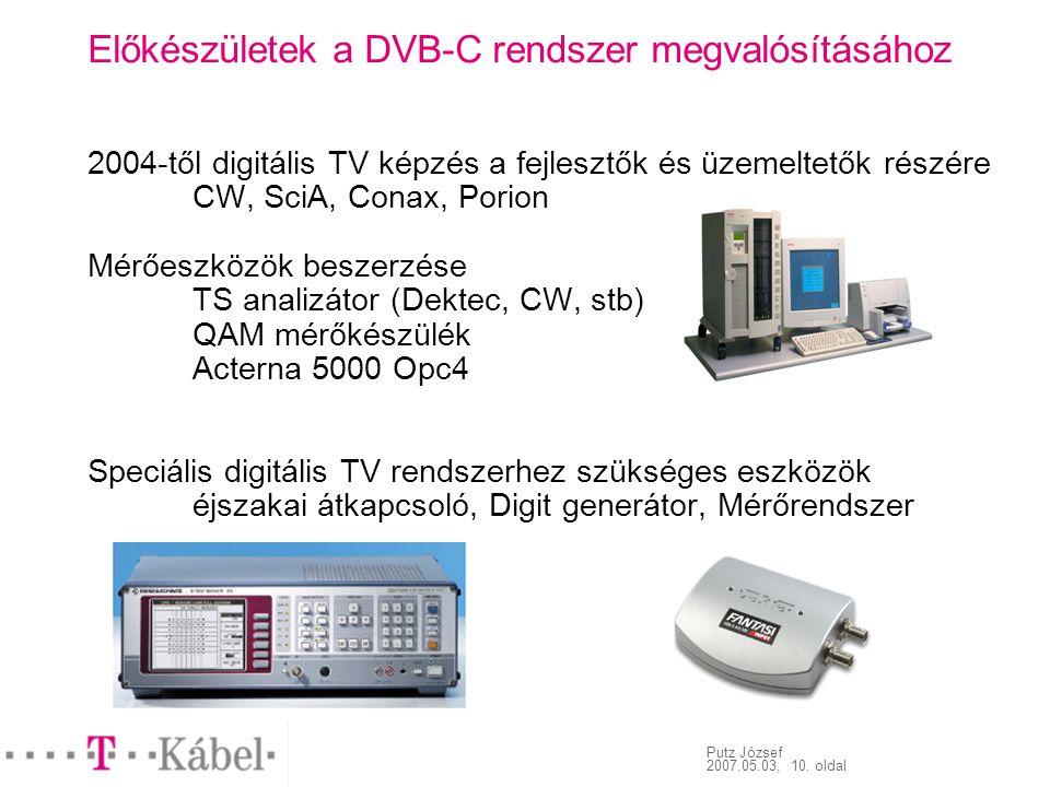 Putz József 2007.05.03, 10. oldal Előkészületek a DVB-C rendszer megvalósításához 2004-től digitális TV képzés a fejlesztők és üzemeltetők részére CW,