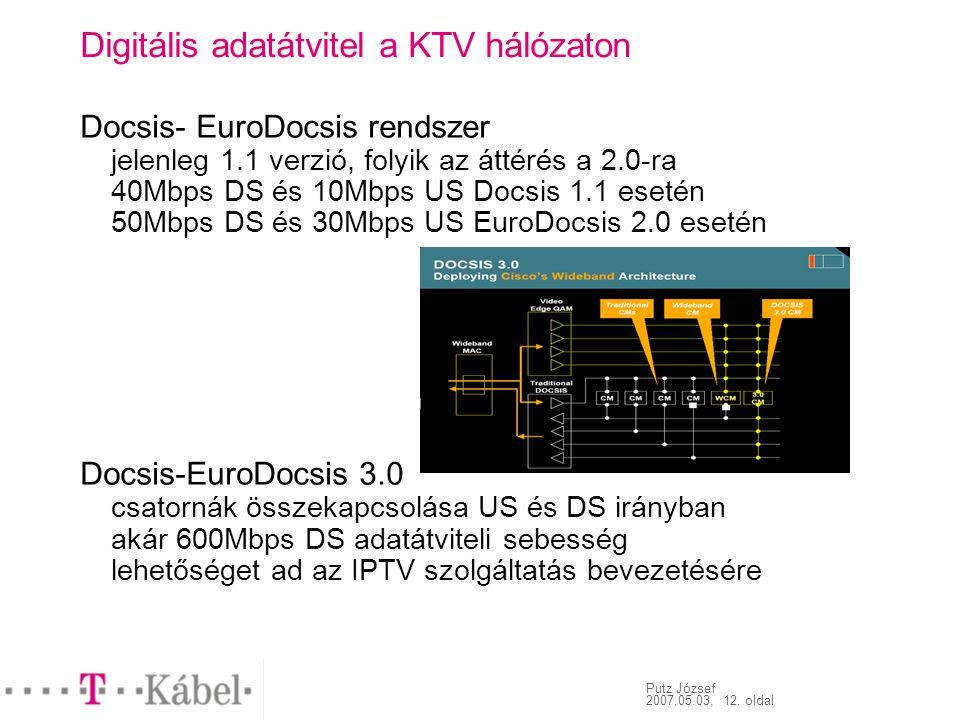 Putz József 2007.05.03, 12. oldal Digitális adatátvitel a KTV hálózaton Docsis- EuroDocsis rendszer jelenleg 1.1 verzió, folyik az áttérés a 2.0-ra 40