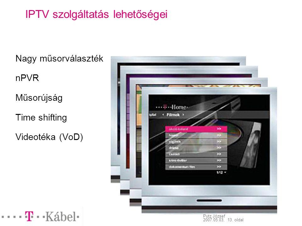 Putz József 2007.05.03, 13. oldal IPTV szolgáltatás lehetőségei Nagy műsorválaszték nPVR Műsorújság Time shifting Videotéka (VoD)