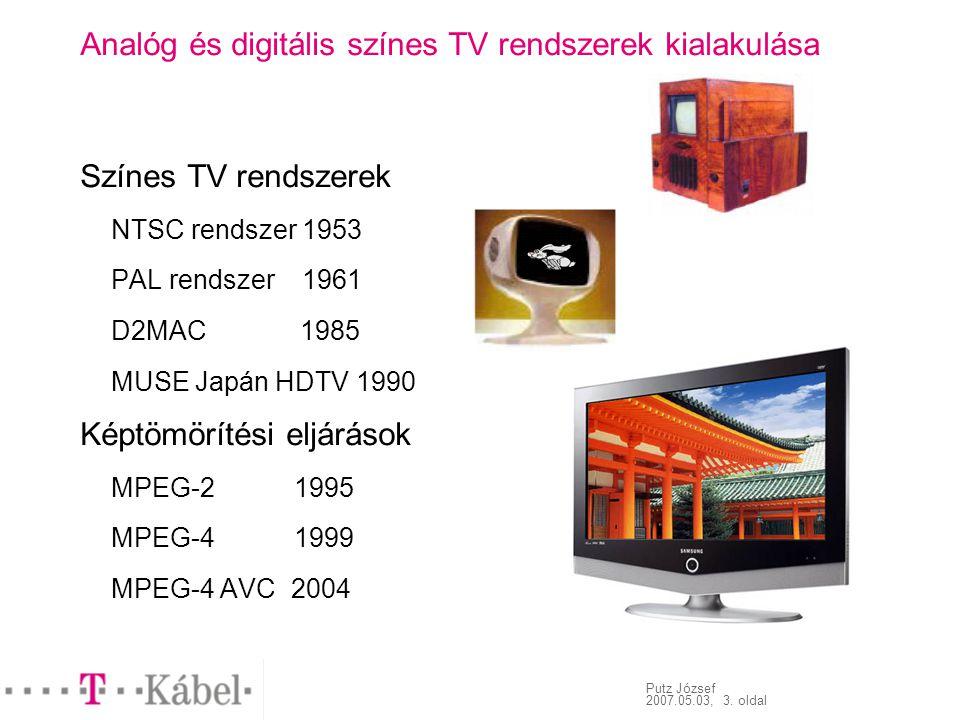 Putz József 2007.05.03, 3. oldal Analóg és digitális színes TV rendszerek kialakulása Színes TV rendszerek NTSC rendszer 1953 PAL rendszer 1961 D2MAC