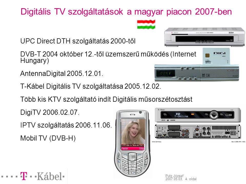 Putz József 2007.05.03, 4. oldal Digitális TV szolgáltatások a magyar piacon 2007-ben UPC Direct DTH szolgáltatás 2000-től DVB-T 2004 október 12.-től