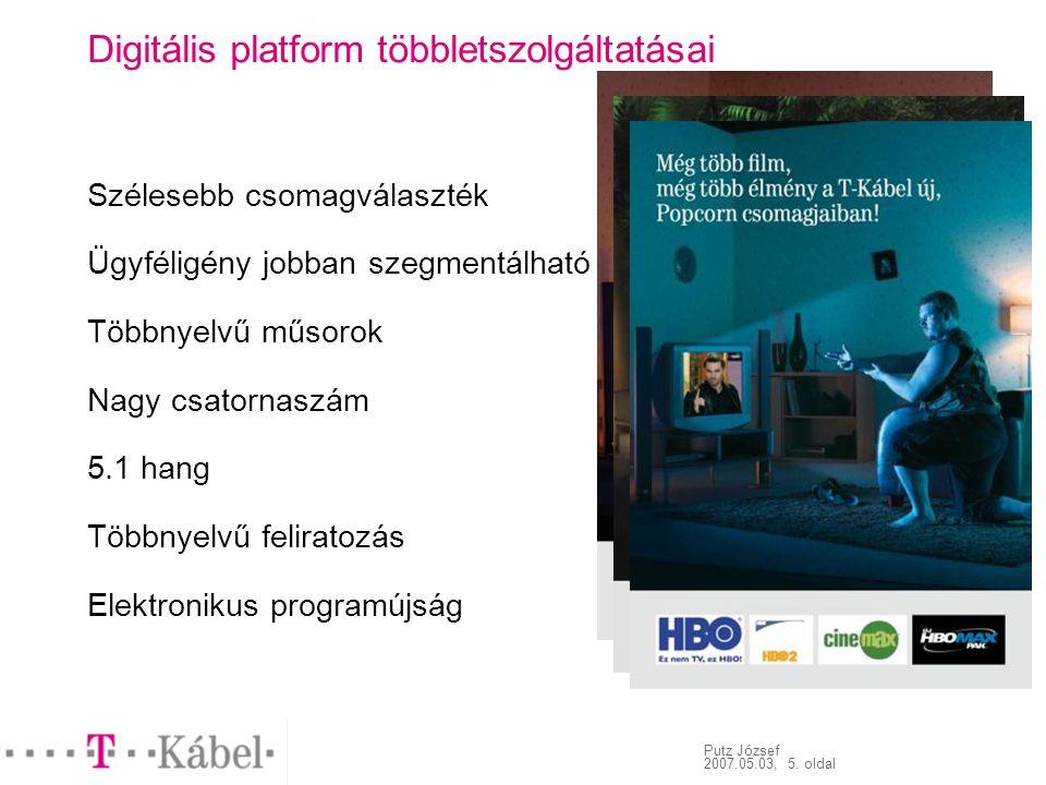 Putz József 2007.05.03, 5. oldal Digitális platform többletszolgáltatásai Szélesebb csomagválaszték Ügyféligény jobban szegmentálható Többnyelvű műsor