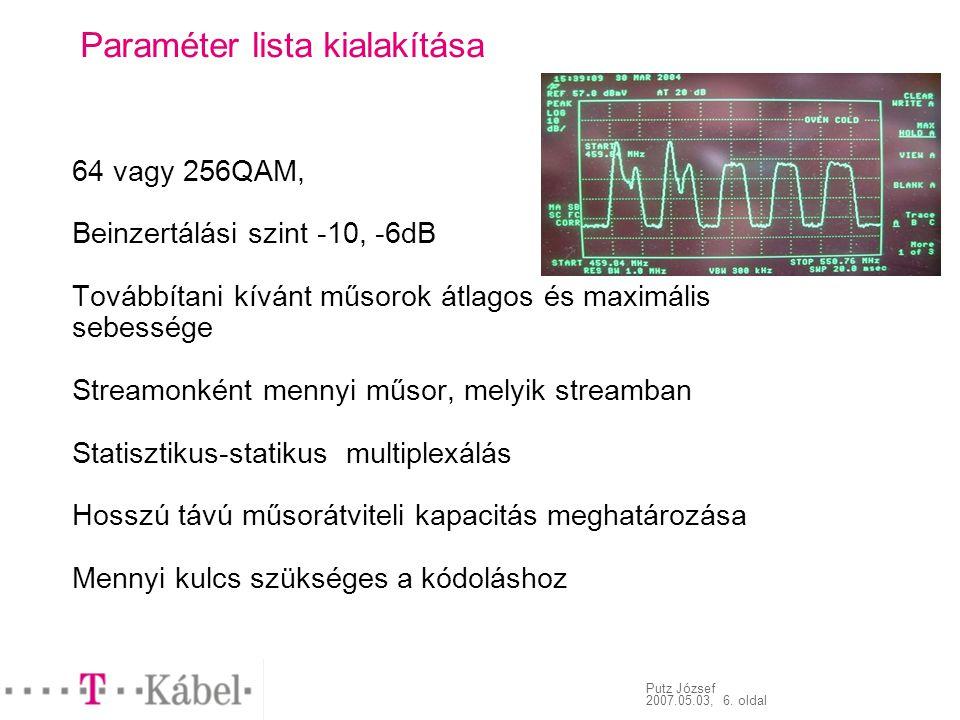 Putz József 2007.05.03, 6. oldal Paraméter lista kialakítása 64 vagy 256QAM, Beinzertálási szint -10, -6dB Továbbítani kívánt műsorok átlagos és maxim