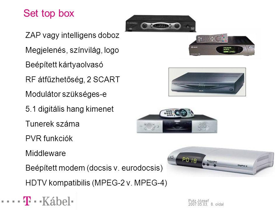 Putz József 2007.05.03, 8. oldal Set top box ZAP vagy intelligens doboz Megjelenés, színvilág, logo Beépített kártyaolvasó RF átfűzhetőség, 2 SCART Mo