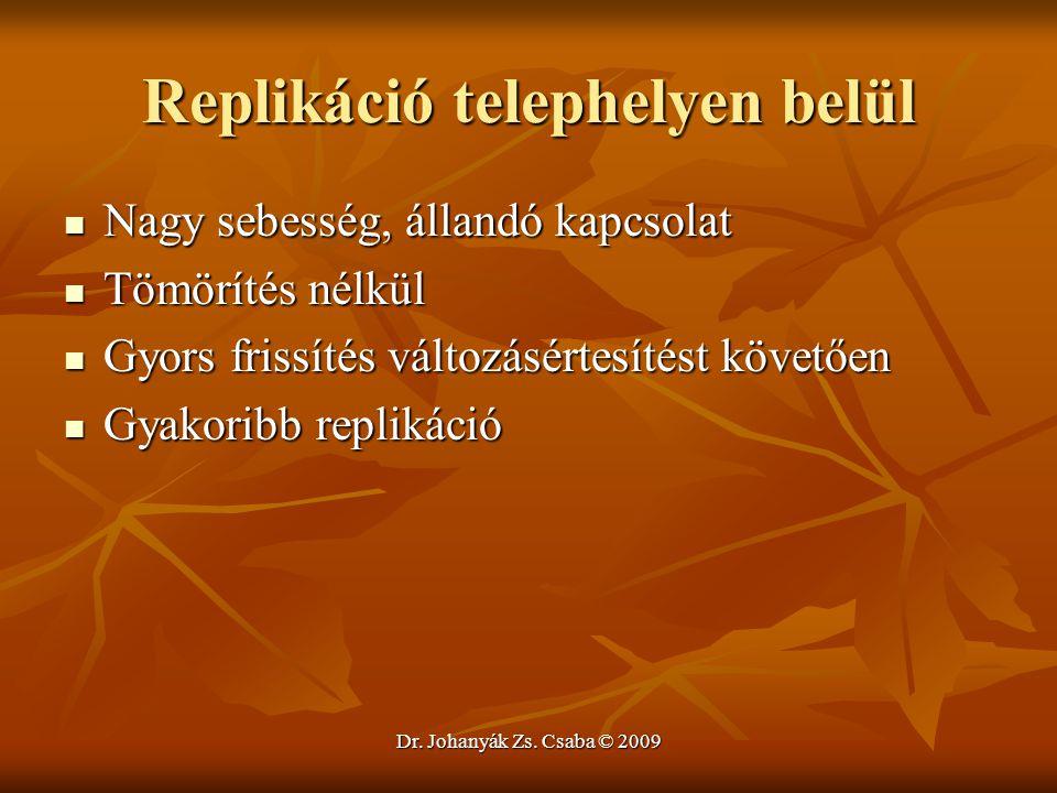 Dr. Johanyák Zs. Csaba © 2009 Replikáció telephelyen belül Nagy sebesség, állandó kapcsolat Nagy sebesség, állandó kapcsolat Tömörítés nélkül Tömöríté