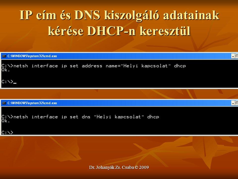 Dr. Johanyák Zs. Csaba © 2009 IP cím és DNS kiszolgáló adatainak kérése DHCP-n keresztül
