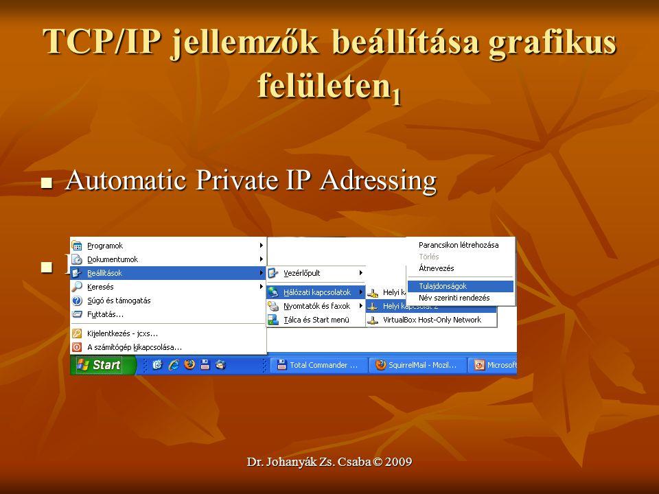 Dr. Johanyák Zs. Csaba © 2009 TCP/IP jellemzők beállítása grafikus felületen 1 Automatic Private IP Adressing Automatic Private IP Adressing Demo Demo