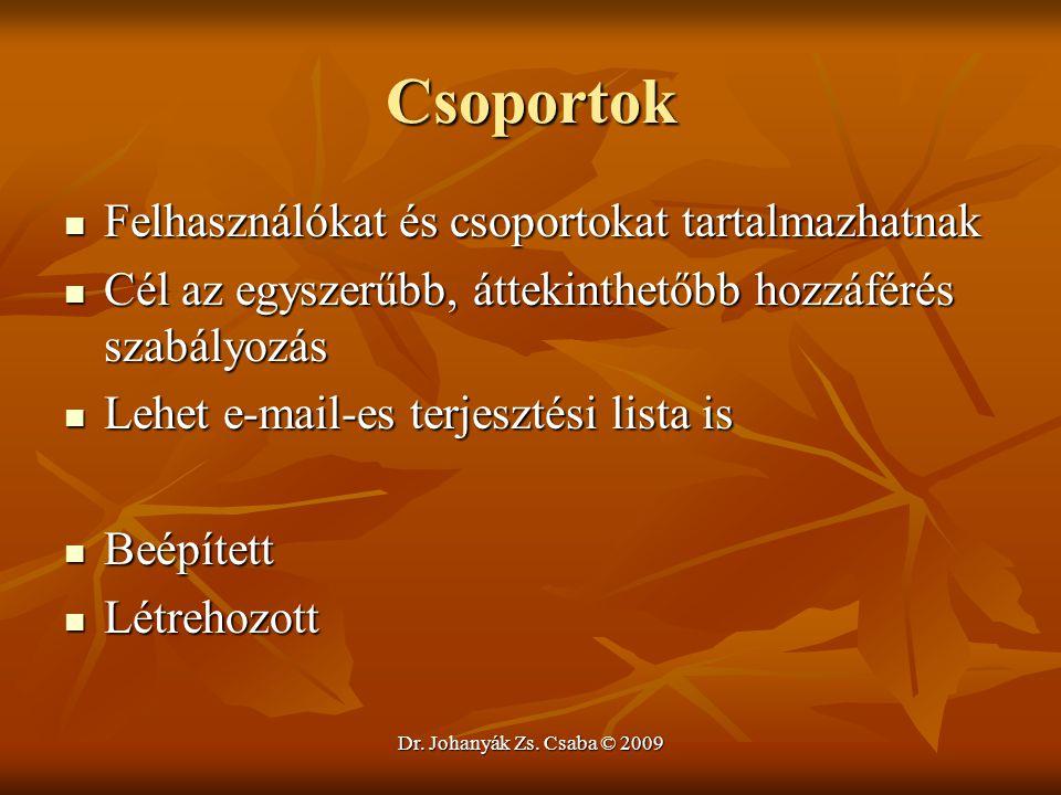 Dr. Johanyák Zs. Csaba © 2009 Csoportok Felhasználókat és csoportokat tartalmazhatnak Felhasználókat és csoportokat tartalmazhatnak Cél az egyszerűbb,