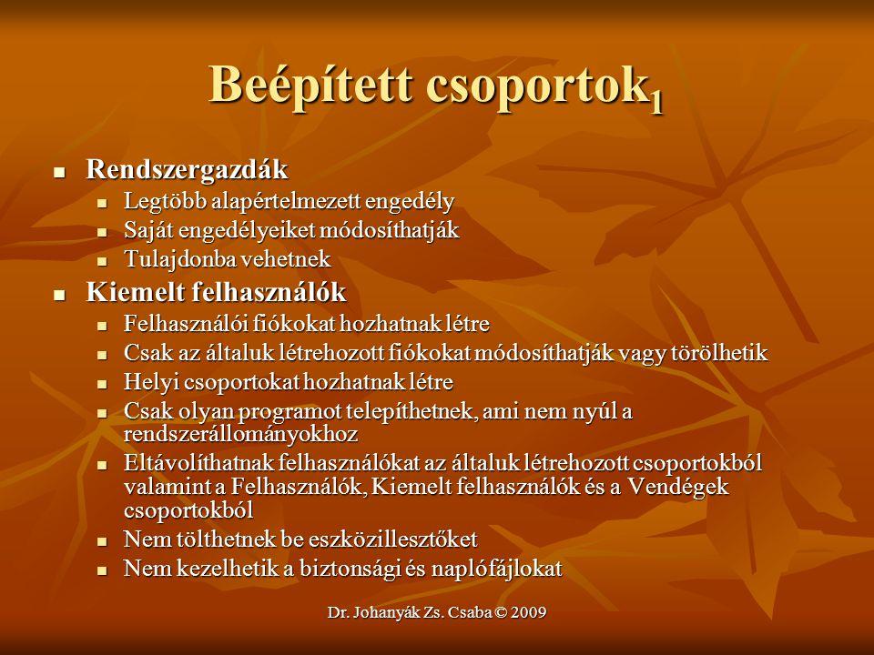Dr. Johanyák Zs. Csaba © 2009 Beépített csoportok 1 Rendszergazdák Rendszergazdák Legtöbb alapértelmezett engedély Legtöbb alapértelmezett engedély Sa