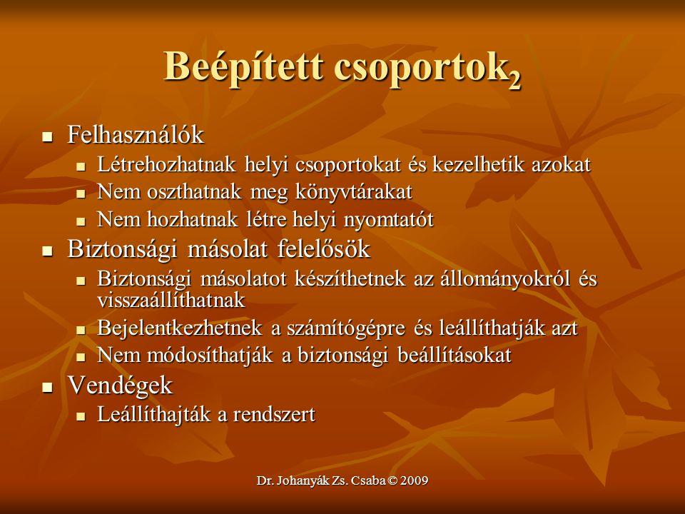 Dr. Johanyák Zs. Csaba © 2009 Beépített csoportok 2 Felhasználók Felhasználók Létrehozhatnak helyi csoportokat és kezelhetik azokat Létrehozhatnak hel