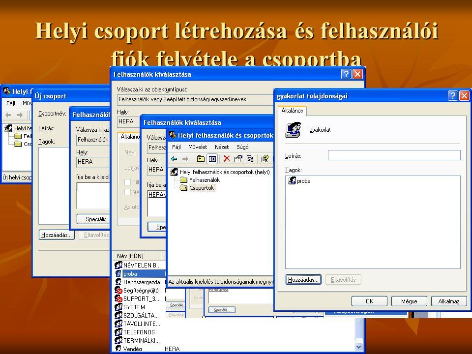 Dr. Johanyák Zs. Csaba © 2009 Helyi csoport létrehozása és felhasználói fiók felvétele a csoportba