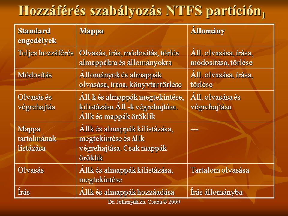 Dr. Johanyák Zs. Csaba © 2009 Hozzáférés szabályozás NTFS partíción 1 Standard engedélyek MappaÁllomány Teljes hozzáférés Olvasás, írás, módosítás, tö