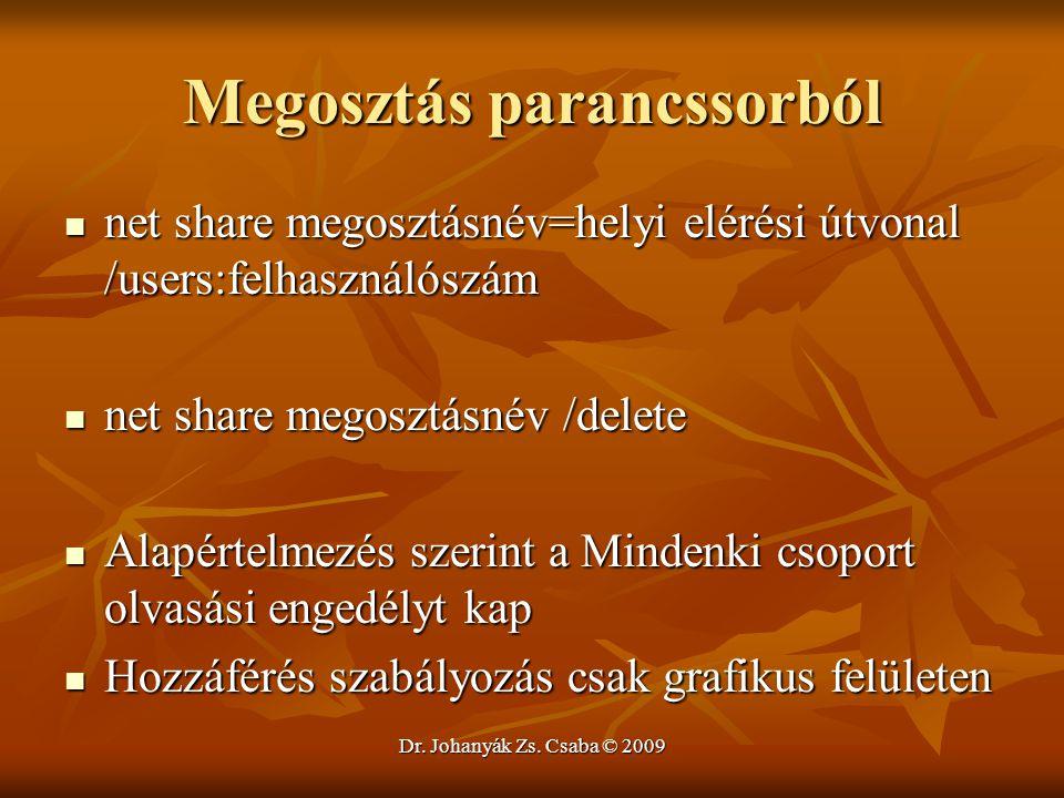 Dr. Johanyák Zs. Csaba © 2009 Megosztás parancssorból net share megosztásnév=helyi elérési útvonal /users:felhasználószám net share megosztásnév=helyi