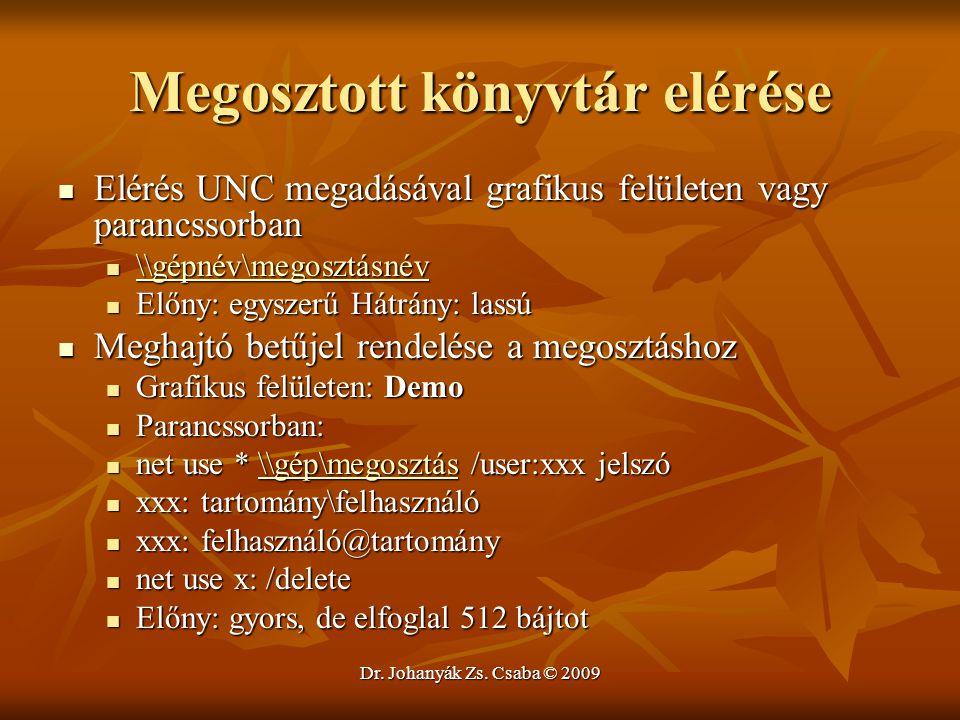 Dr. Johanyák Zs. Csaba © 2009 Megosztott könyvtár elérése Elérés UNC megadásával grafikus felületen vagy parancssorban Elérés UNC megadásával grafikus