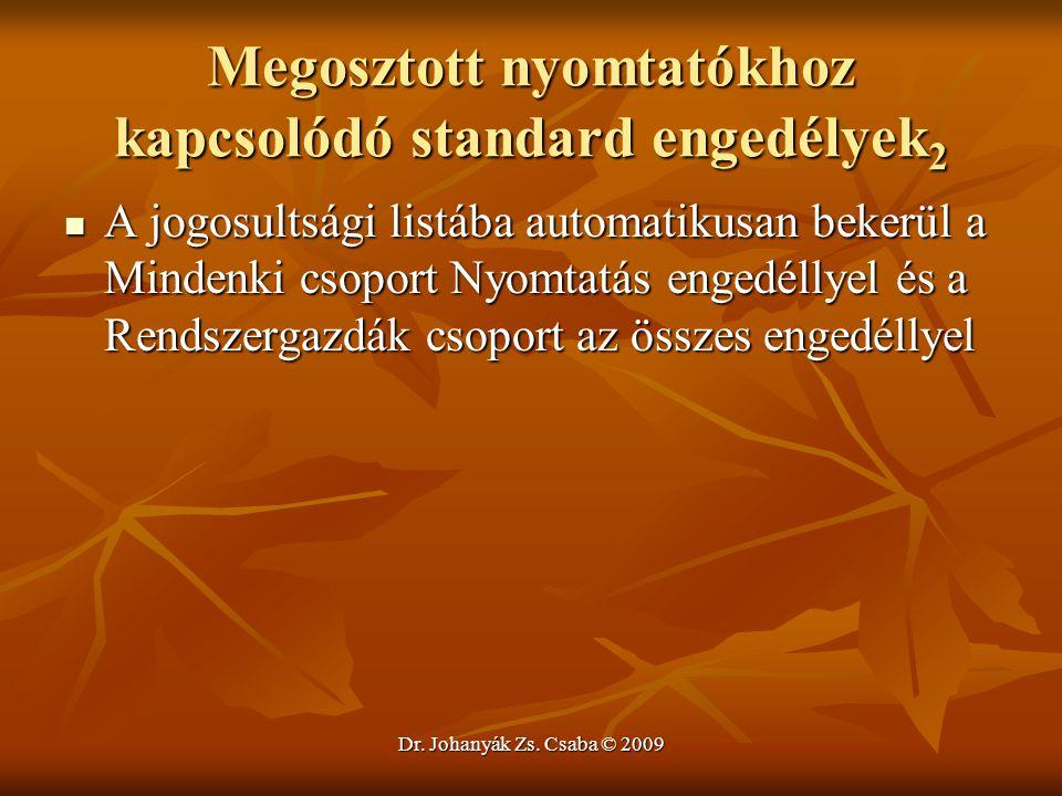 Dr. Johanyák Zs. Csaba © 2009 Megosztott nyomtatókhoz kapcsolódó standard engedélyek 2 A jogosultsági listába automatikusan bekerül a Mindenki csoport