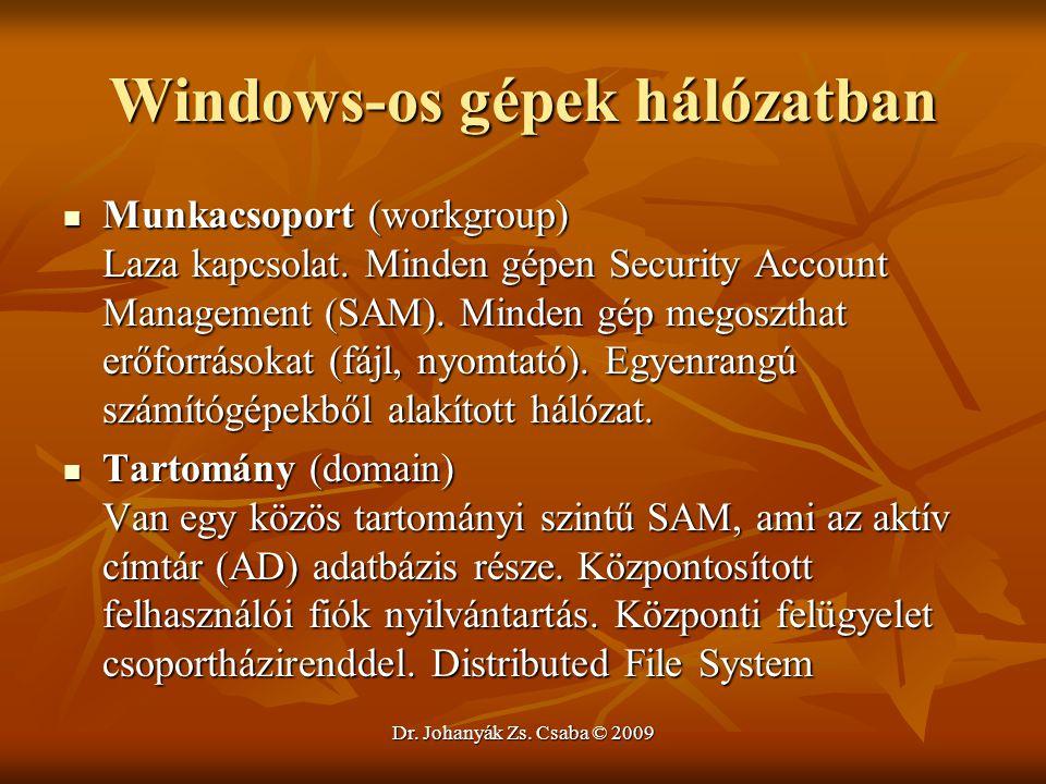 Dr. Johanyák Zs. Csaba © 2009 Windows-os gépek hálózatban Munkacsoport (workgroup) Laza kapcsolat. Minden gépen Security Account Management (SAM). Min