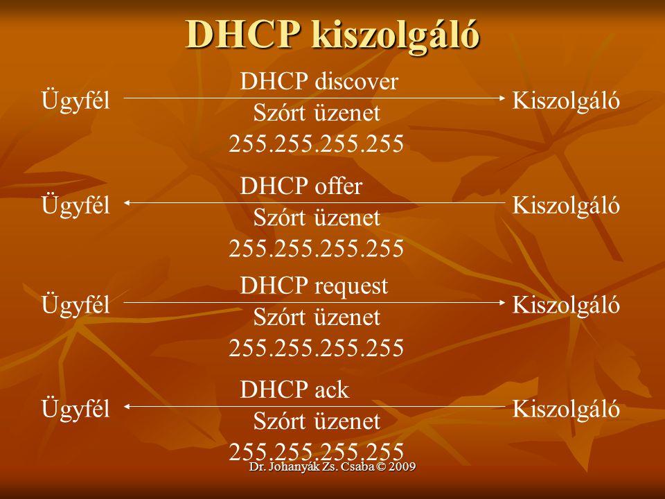 Dr. Johanyák Zs. Csaba © 2009 DHCP kiszolgáló ÜgyfélKiszolgáló DHCP discover Szórt üzenet 255.255.255.255 ÜgyfélKiszolgáló DHCP offer Szórt üzenet 255