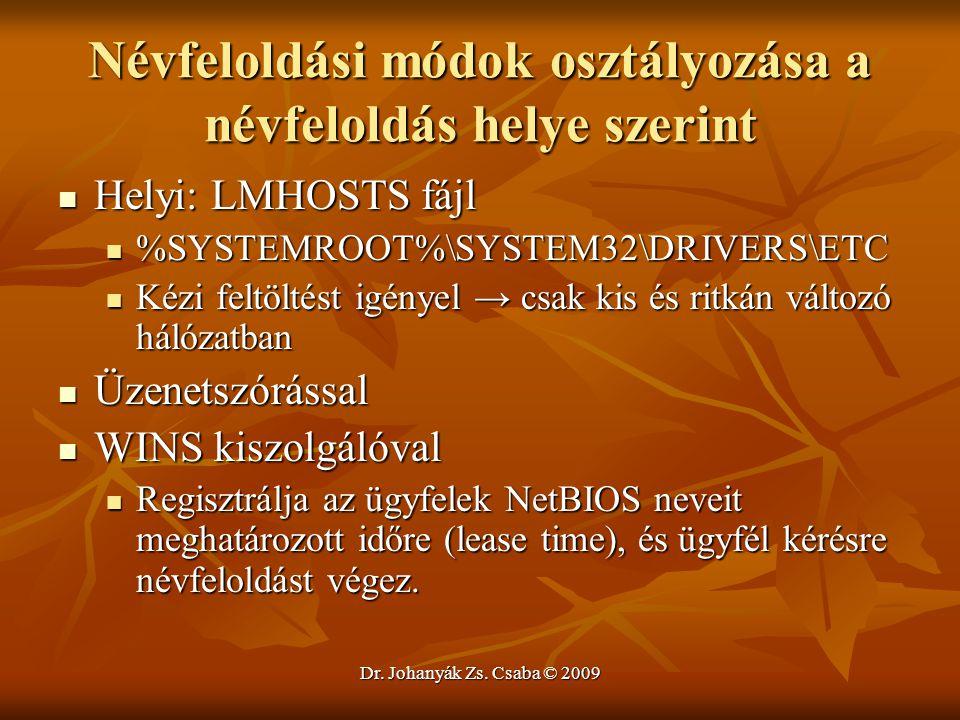 Dr. Johanyák Zs. Csaba © 2009 Névfeloldási módok osztályozása a névfeloldás helye szerint Helyi: LMHOSTS fájl Helyi: LMHOSTS fájl %SYSTEMROOT%\SYSTEM3