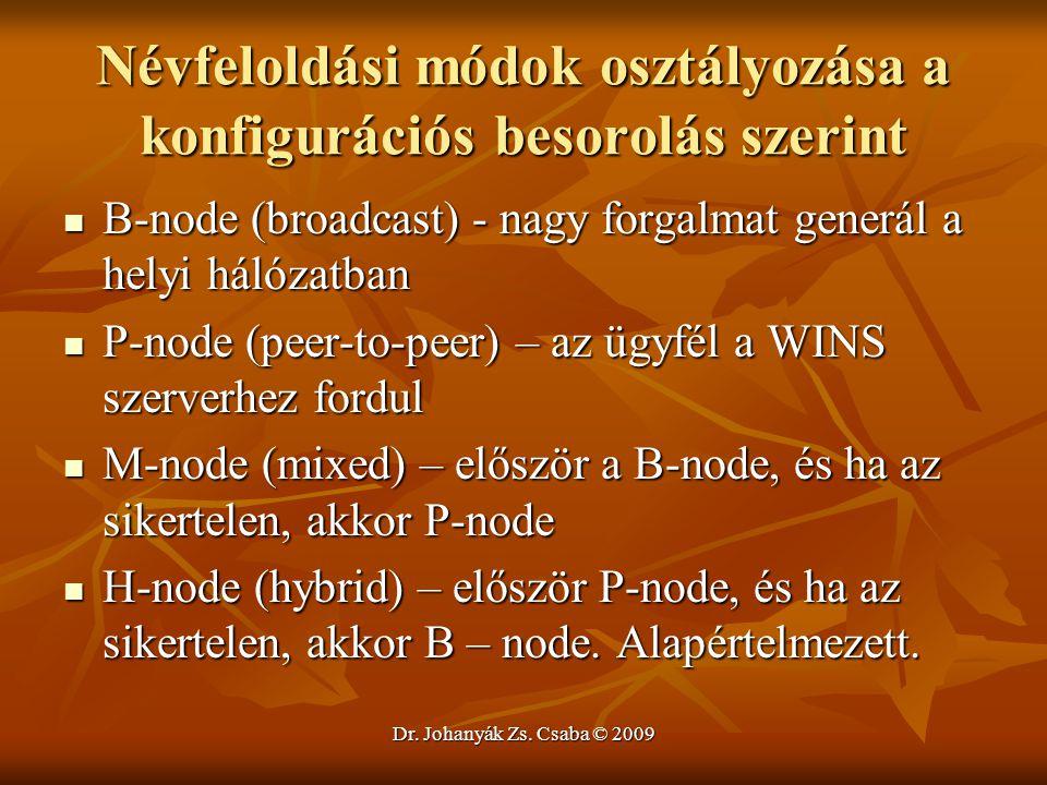 Dr. Johanyák Zs. Csaba © 2009 Névfeloldási módok osztályozása a konfigurációs besorolás szerint B-node (broadcast) - nagy forgalmat generál a helyi há