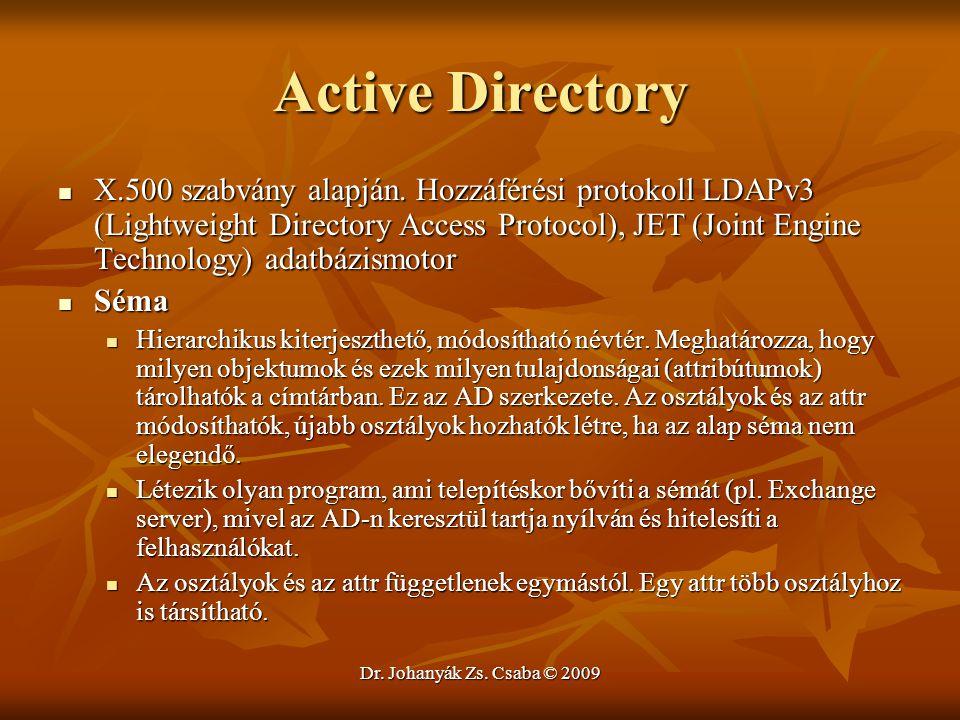 Dr. Johanyák Zs. Csaba © 2009 Active Directory X.500 szabvány alapján. Hozzáférési protokoll LDAPv3 (Lightweight Directory Access Protocol), JET (Join