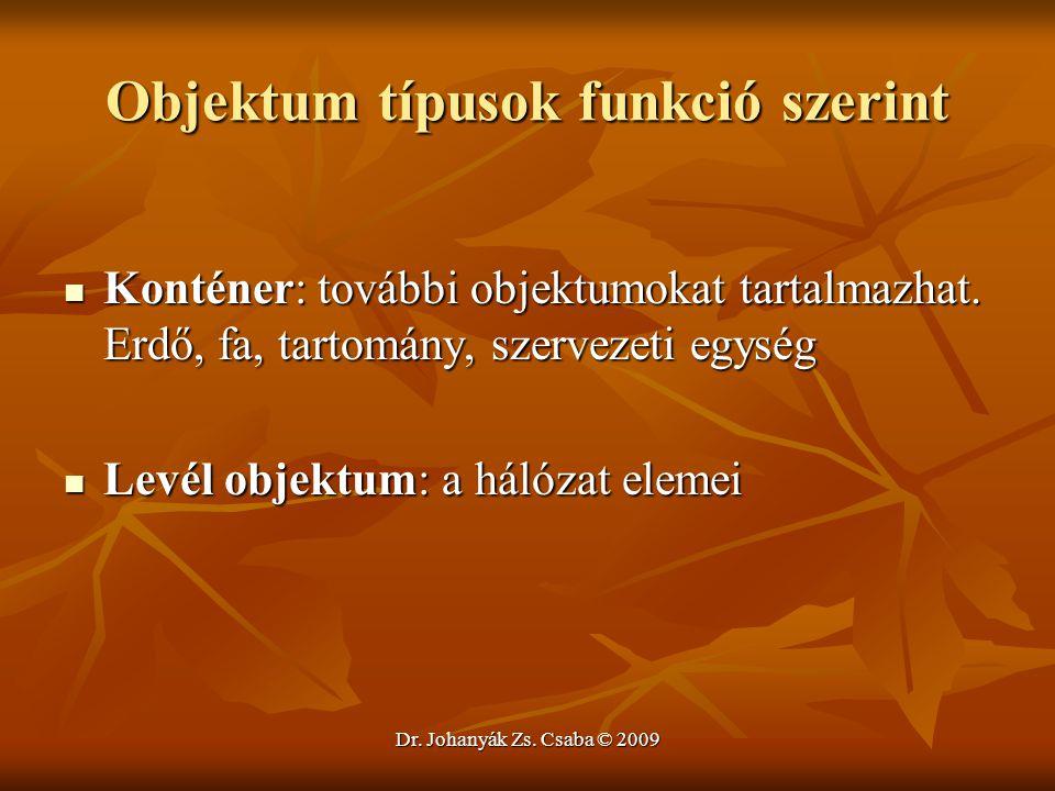 Dr. Johanyák Zs. Csaba © 2009 Objektum típusok funkció szerint Konténer: további objektumokat tartalmazhat. Erdő, fa, tartomány, szervezeti egység Kon
