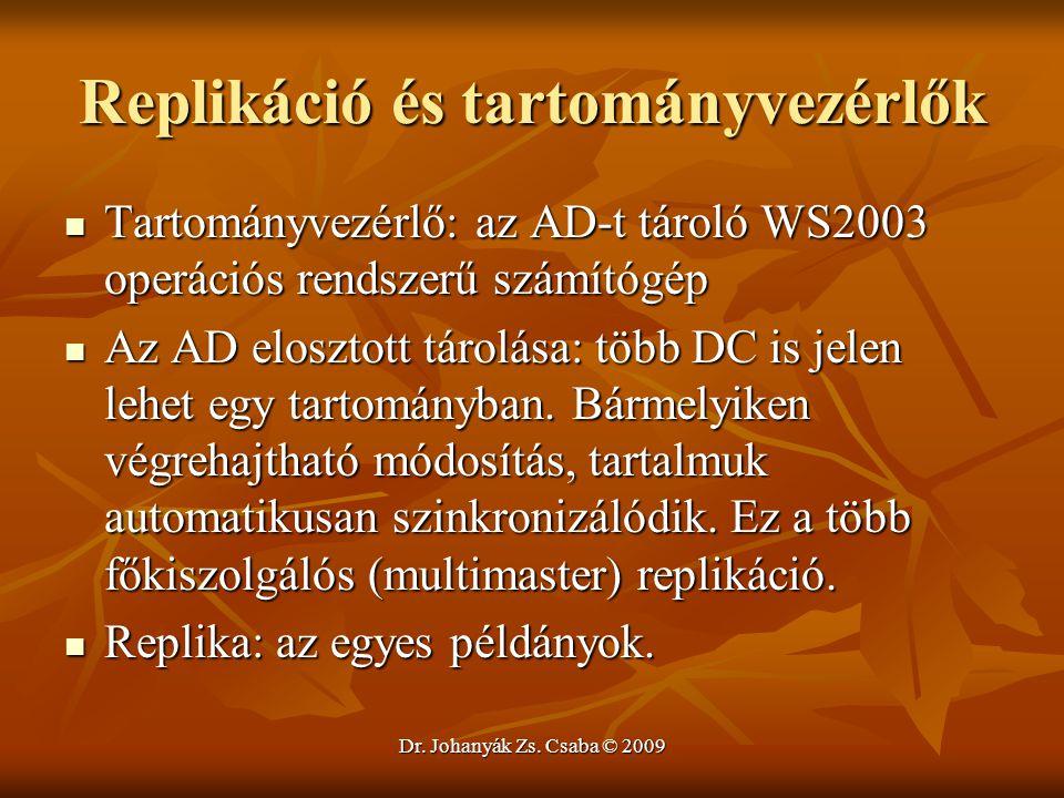 Dr. Johanyák Zs. Csaba © 2009 Replikáció és tartományvezérlők Tartományvezérlő: az AD-t tároló WS2003 operációs rendszerű számítógép Tartományvezérlő: