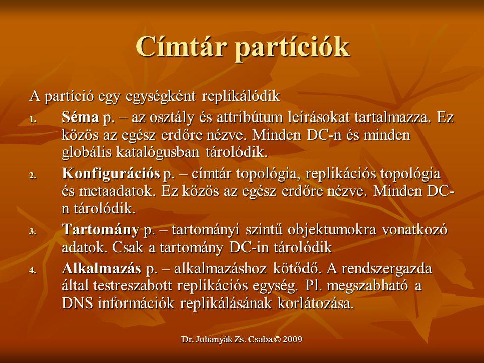 Dr. Johanyák Zs. Csaba © 2009 Címtár partíciók A partíció egy egységként replikálódik 1. Séma p. – az osztály és attribútum leírásokat tartalmazza. Ez