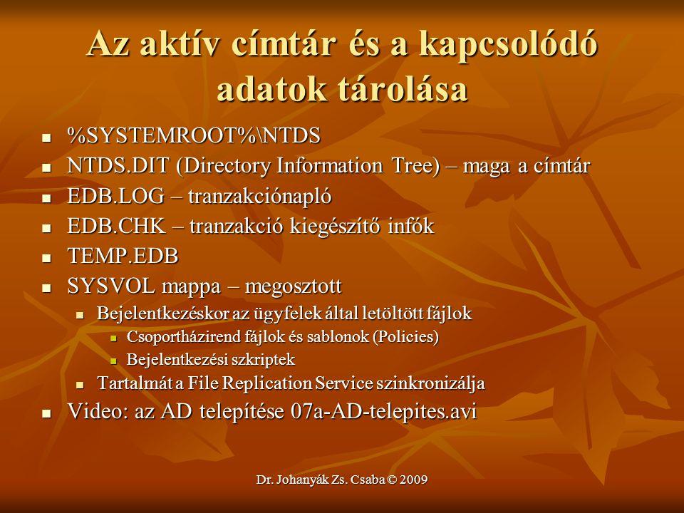 Dr. Johanyák Zs. Csaba © 2009 Az aktív címtár és a kapcsolódó adatok tárolása %SYSTEMROOT%\NTDS %SYSTEMROOT%\NTDS NTDS.DIT (Directory Information Tree
