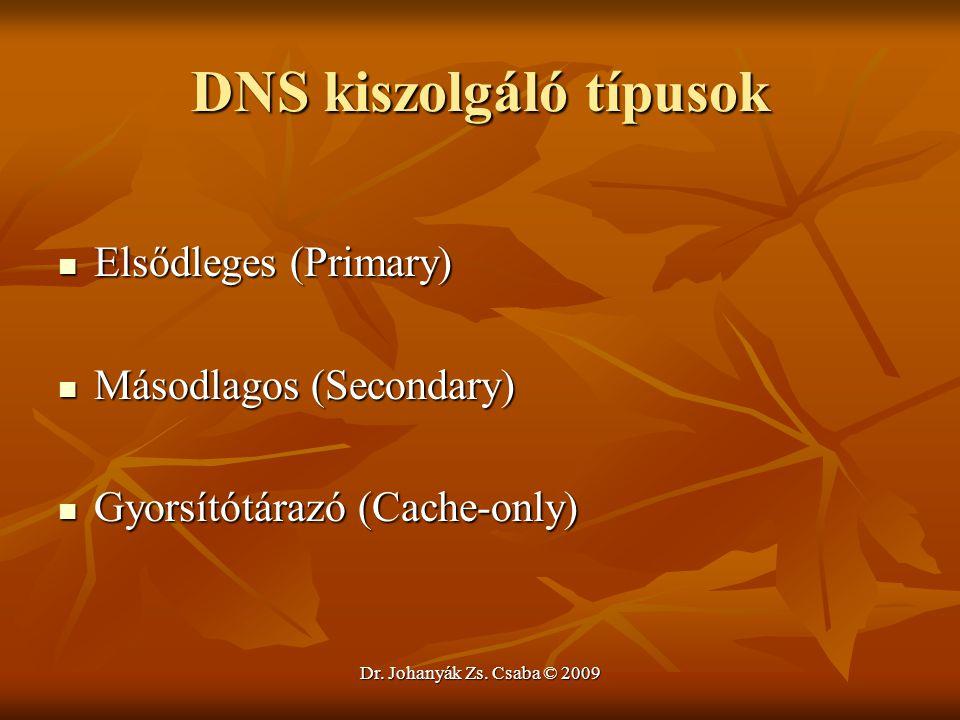 Dr. Johanyák Zs. Csaba © 2009 DNS kiszolgáló típusok Elsődleges (Primary) Elsődleges (Primary) Másodlagos (Secondary) Másodlagos (Secondary) Gyorsítót