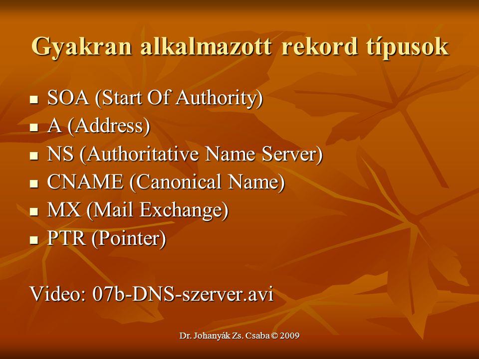 Dr. Johanyák Zs. Csaba © 2009 Gyakran alkalmazott rekord típusok SOA (Start Of Authority) SOA (Start Of Authority) A (Address) A (Address) NS (Authori