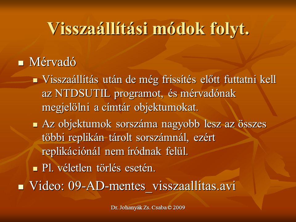 Dr. Johanyák Zs. Csaba © 2009 Visszaállítási módok folyt. Mérvadó Mérvadó Visszaállítás után de még frissítés előtt futtatni kell az NTDSUTIL programo