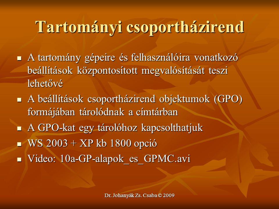 Dr. Johanyák Zs. Csaba © 2009 Tartományi csoportházirend A tartomány gépeire és felhasználóira vonatkozó beállítások központosított megvalósítását tes